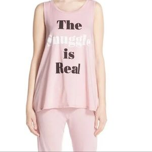 """Junk Food """"The Snuggle Is Real"""" Pink Tank Top"""